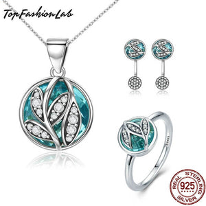 Top Fashion Lab CRYSTAL GREEN TREE JEWELRY SET