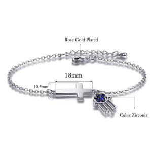 HAMSA BLUE EYE ZIRCON BRACELET | Top Fashion Lab