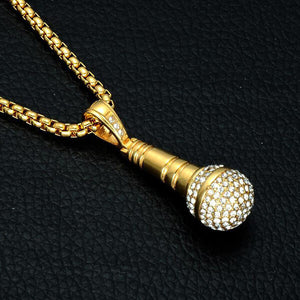 Hip Hop Bling Mic Necklace Top Fashion Lab