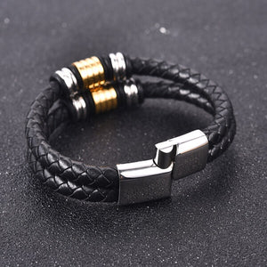 DOUBLE BRAIDED LEATHER BRACELET