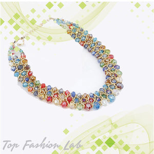 top fashion lab | Multicolor Crystal stone necklace