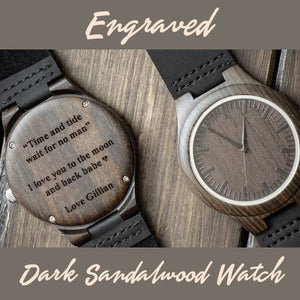 Engraved Dark Sandalwood Watch