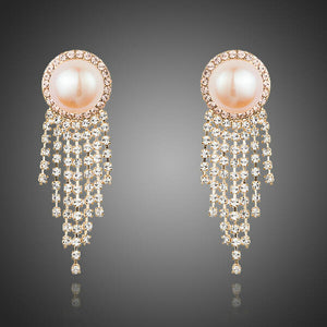 Pink Pearl Claw Chain Earrings