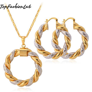 TRENDY ROUND NECKLACE & EARRING SET