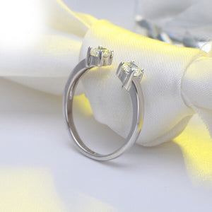 DOUBLE STONE ADJUSTABLE STERLING SILVER RING