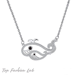 STERLING SILVER WHALES PENDANT  NECKLACE | Top Fashion Lab