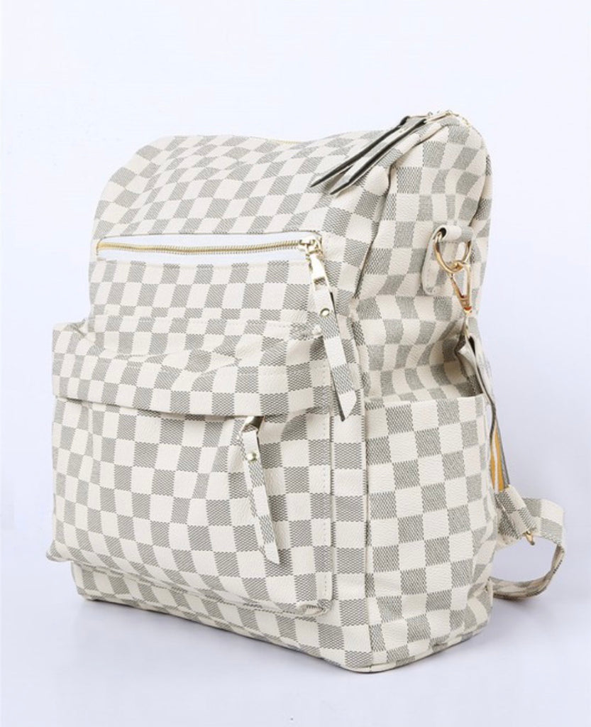 Harlow Bone Check Backpack Purse