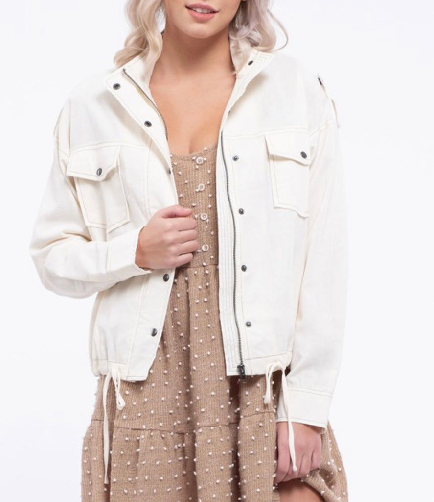 Micealia Cream Linen Jacket
