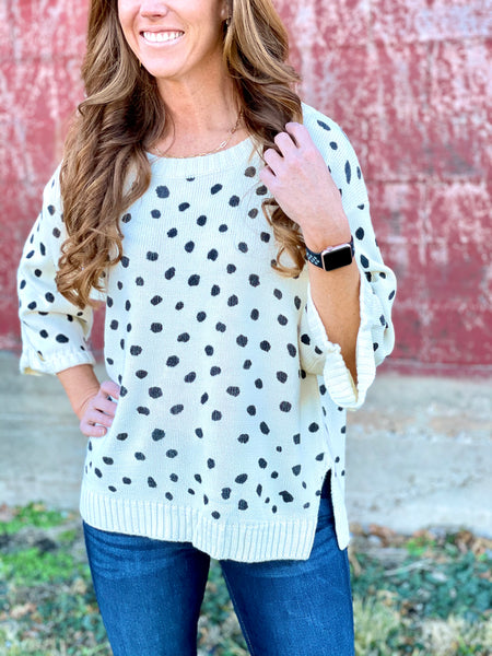 Bobbie Cream Dot Sweater