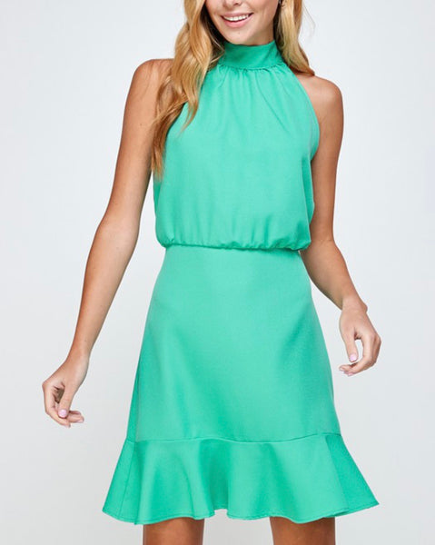 Evelyn Mint Halter Dress