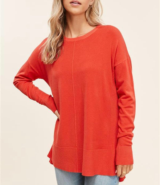 Sabrina Orange Crew Neck Sweater