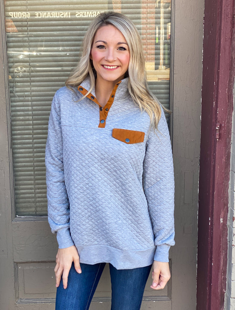 Jamie Grey Quilted Pullover