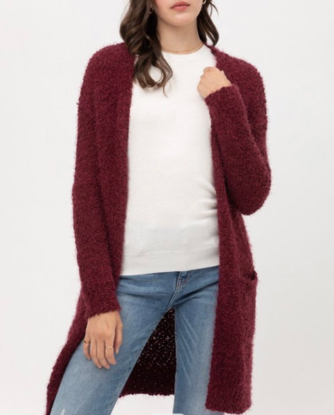 Francesca Wine Eyelash Cardigan