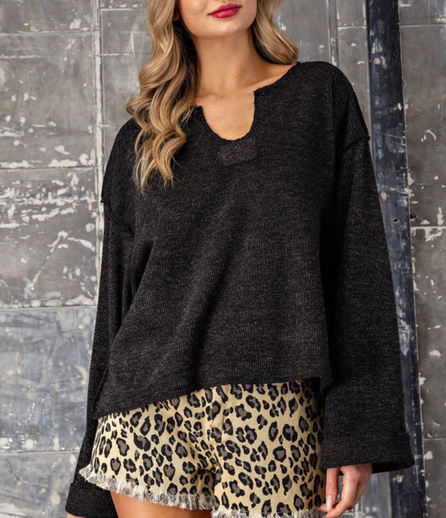 Connor Charcoal V-Neck Top