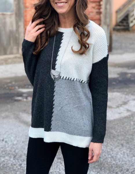 Heather Grey Colorblock Sweater