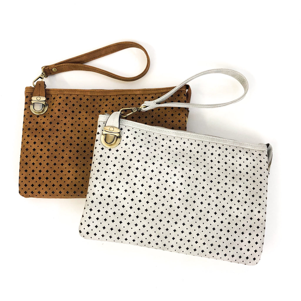 Carla Perforated Crossbody/Clutch