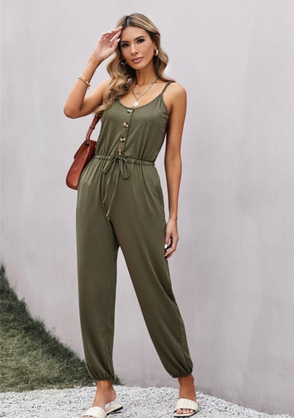 Hadley Olive Button Jumpsuit