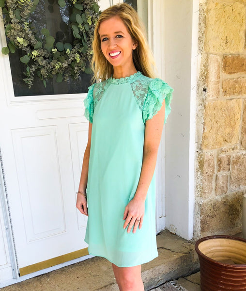 Ellie Mint Lace Detail Dress
