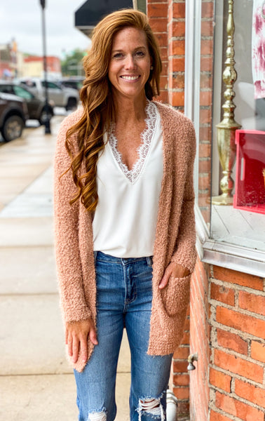 Francesca Lt. Clay Eyelash Cardigan