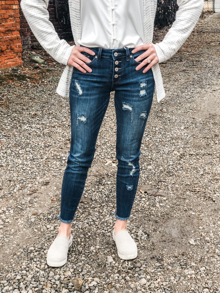 Georgia Dark Distressed KanCan Jean