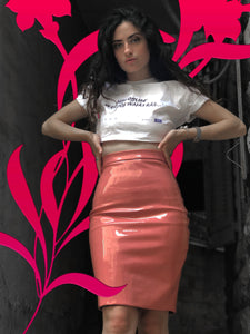 ALBY OFFLINE SHIRT OR PINK VINYL SKIRT