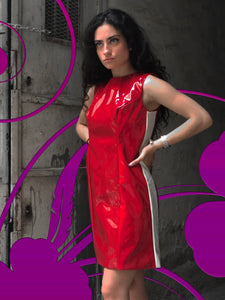 HALIMEH RED JERSEY VINYL DRESS
