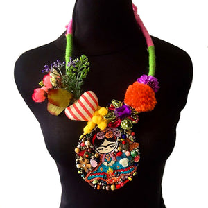 Frida Kahlo Embroidery Necklace