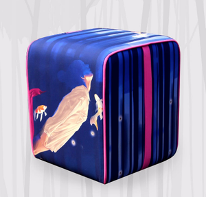 Square Pouf With Serendipity Art