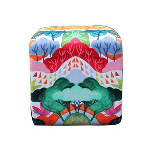 Square Pouf With Woods Art