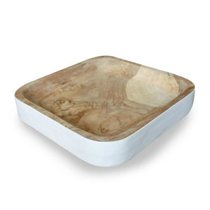 Teak Wood Square Tray White - Natural (M)