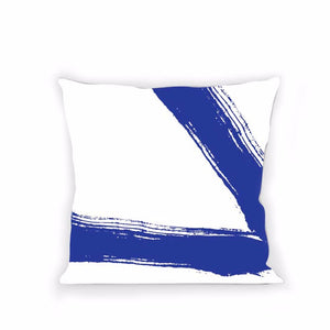 White & Blue Paint #4 Pillow