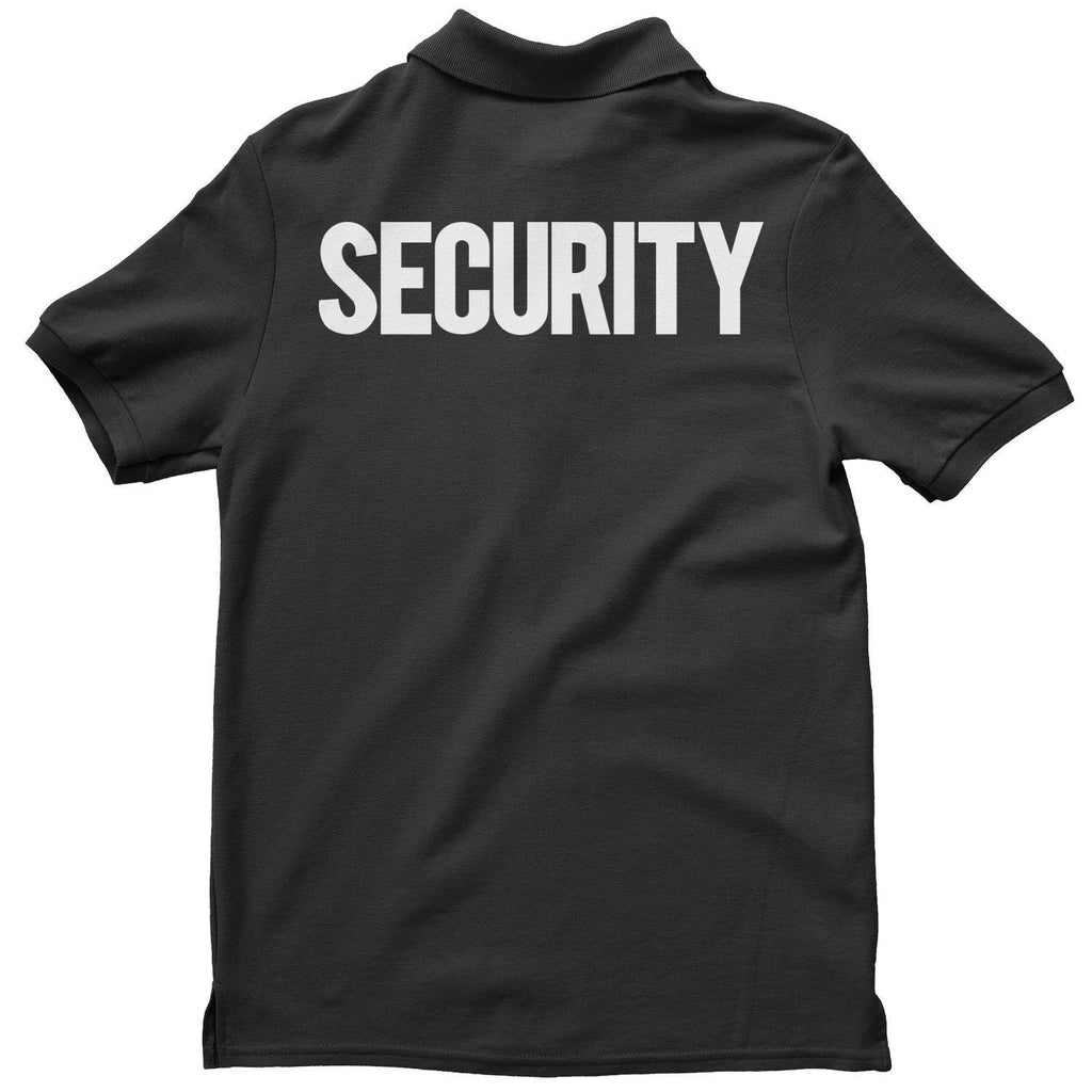 16374889 ... Men's Security Polo Shirt Black White Front Back Print Mens Tee Staff  Event Bouncer
