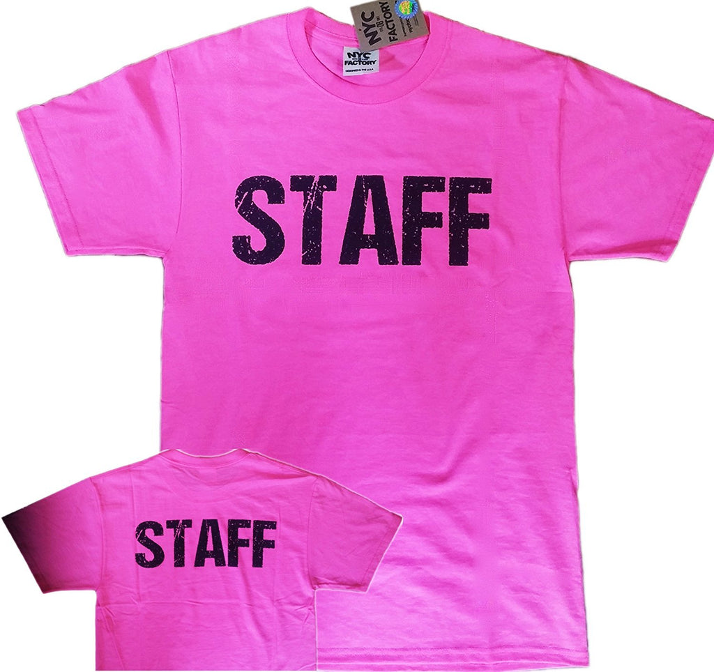NYC FACTORY Staff T-Shirt White Mens Tee Staff Event Shirt Front /& Back...