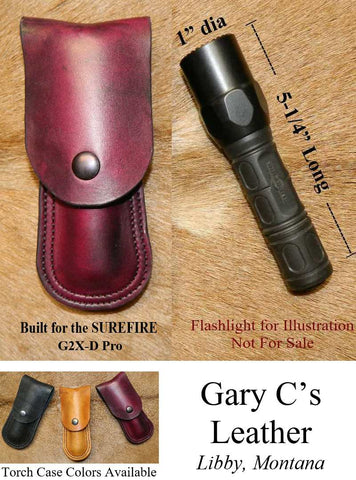 "Leather Torch Case / Pouch. Holds ONE 1"" diameter torch, built for Surefire 5-1/4"" and similar flashlight. Bag, Vehicle, Belt Carry.  Dark Cherry Leather. 1FS-008"