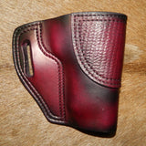 "Gary C's Avenger Right Hand Holster for EAA/Tanfoglio Witness P Polymer Full Size 4.5"", with Rail. Dark Cherry Leather with woven basket stamp. I-007"