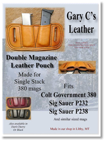 Leather Double Magazine Pouch for 380 Single Stack Mags, fits Colt Government 380/Sig P232, P238. Antiqued Golden Brown 3-047
