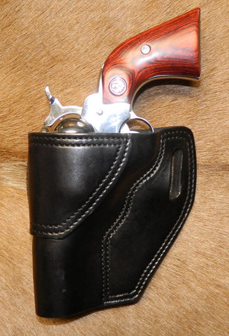 "Gary C's Avenger Left hand Holster for Ruger NM Vaquero 3-3/4"" Revolver.  Black Leather Q-053"