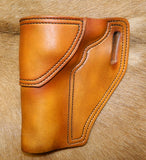 "Gary C's Avenger Left Hand Holster for Ruger NM Blackhawk 4-5/8"" Revolver.  Antiqued Golden Brown Leather W-079"