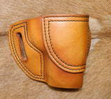 Gary C's Avenger Right Hand Holster for Ruger SR9C/SR40C. Antiqued Golden Brown Leather. R-023