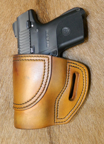Gary C's Avenger Left Hand Holster for Ruger SR9C/SR40C. Antiqued Golden Brown Leather. R-029