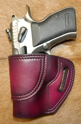 Gary C's Avenger Left Hand Holster for EAA/Tanfoglio Witness Compact Steel, No Rail. Dark Cherry Leather. E-019