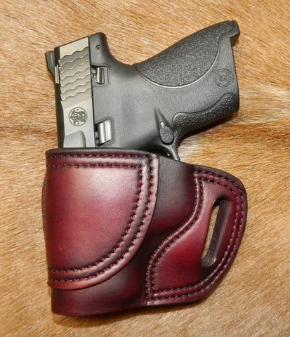 Gary C's Avenger Left Hand Holster for Smith & Wesson M&P Shield 9/40, Dark Cherry. M-048