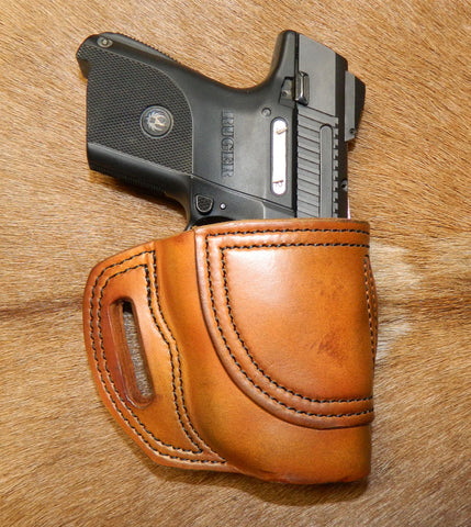 Gary C's Avenger Right Hand Holster for Ruger SR9C/SR40C with CT Laser. Antiqued Golden Brown Leather. R-016