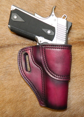 "Gary C's Avenger Right Hand Holster for Colt 1911 Government 5"" & Similar 1911s, Dark Cherry Leather. G-074"