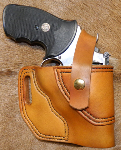"Gary C's Avenger Right Hand Holster for S & W N Frame 3"" Revolver with Retention Strap, Antiqued Golden Brown Leather  OO-019"