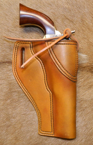 "Gary C's Avenger Right Hand Holster for Colt 1862 Pocket Navy BLACK POWDER 5-1/2"" with Hammer Thong & Similar Clones, Antiqued Golden Brown Leather. PBP-003"