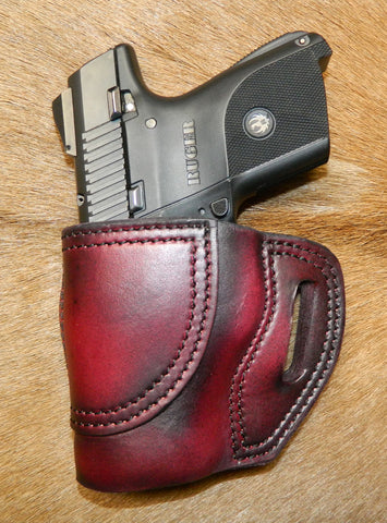 Gary C's Avenger Left Hand Holster for Ruger SR9C/SR40C. Dark Cherry Leather. R-027