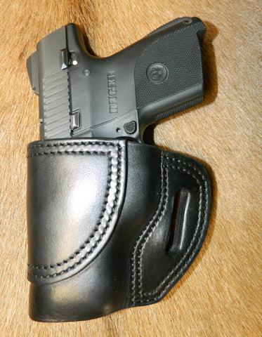 Gary C's Avenger Left Hand Holster for Ruger SR9C/SR40C. Black Leather. R-028