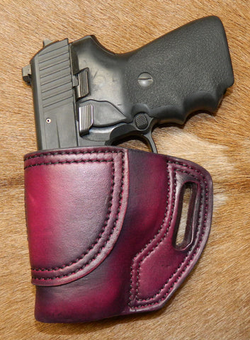 Gary C's Avenger Left Hand Holster for Sig Sauer P239. Dark Cherry Leather. ST-015