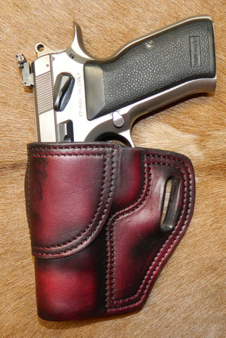 Gary C's Avenger Left Hand Holster for EAA/Tanfoglio Witness Full Size Steel, No Rail. Dark Cherry Leather. F-020